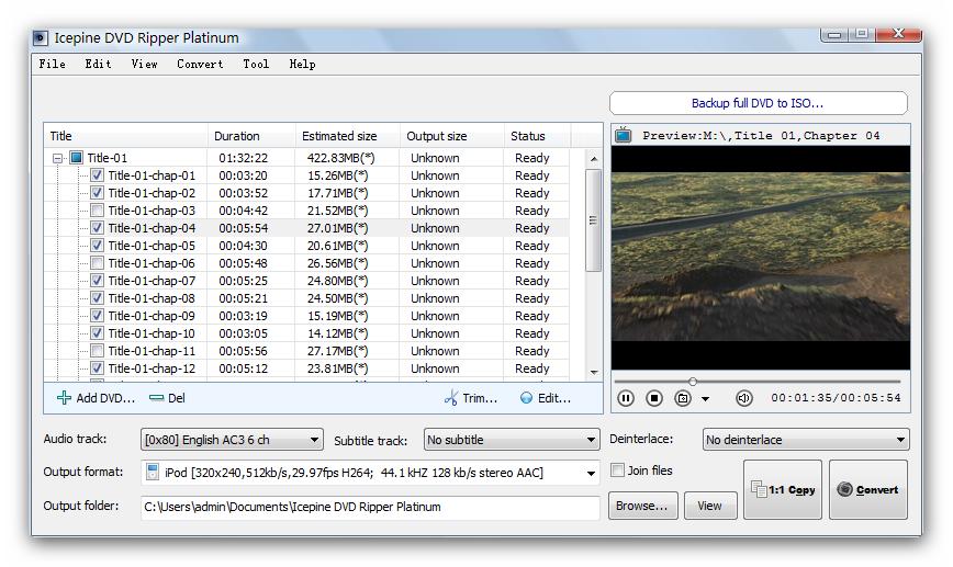 Icepine DVD Ripper Platinum full screenshot