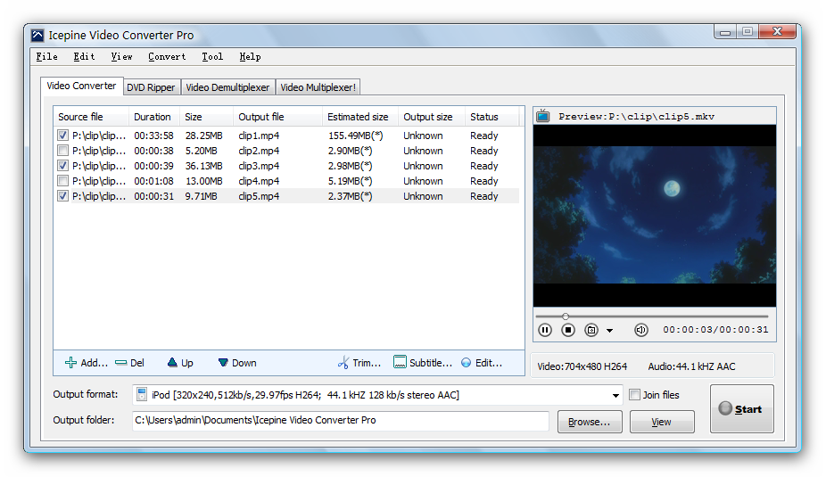 Icepine Video Converter Pro Screen shot